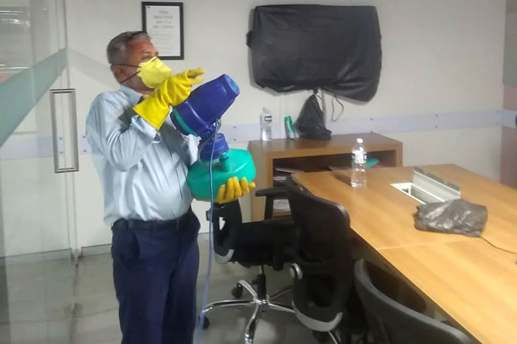 Disinfecting office interior