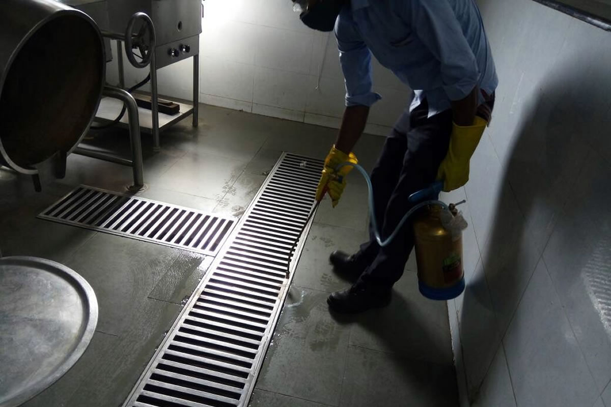 Application of larvicide in indoor drains