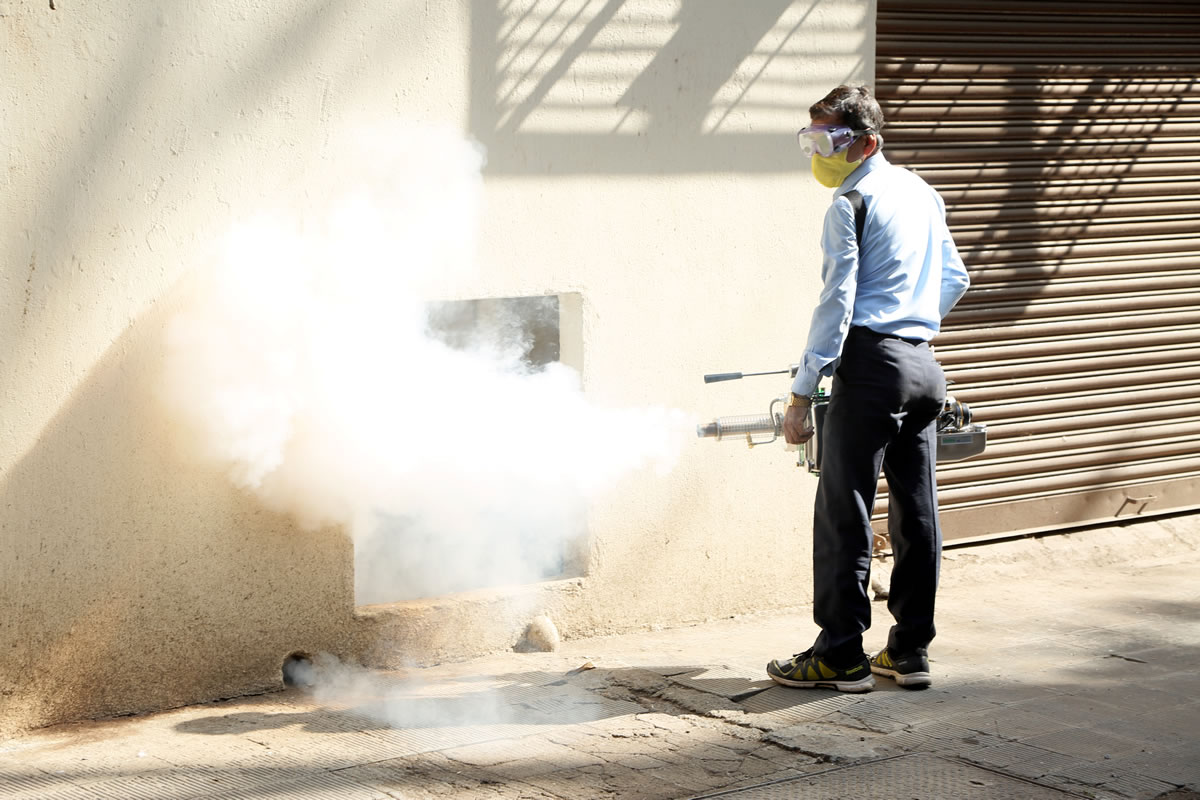 Fogging in the housing society premises for mosquito control